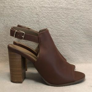 Covington Brown Open Toe Heel Sandals, Size 9.5